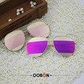 Oobon real 2016 mais novo revestimento de óculos de sol das mulheres designer de marca original double-ponte do vintage quadro óculos de sol com caixa uv400