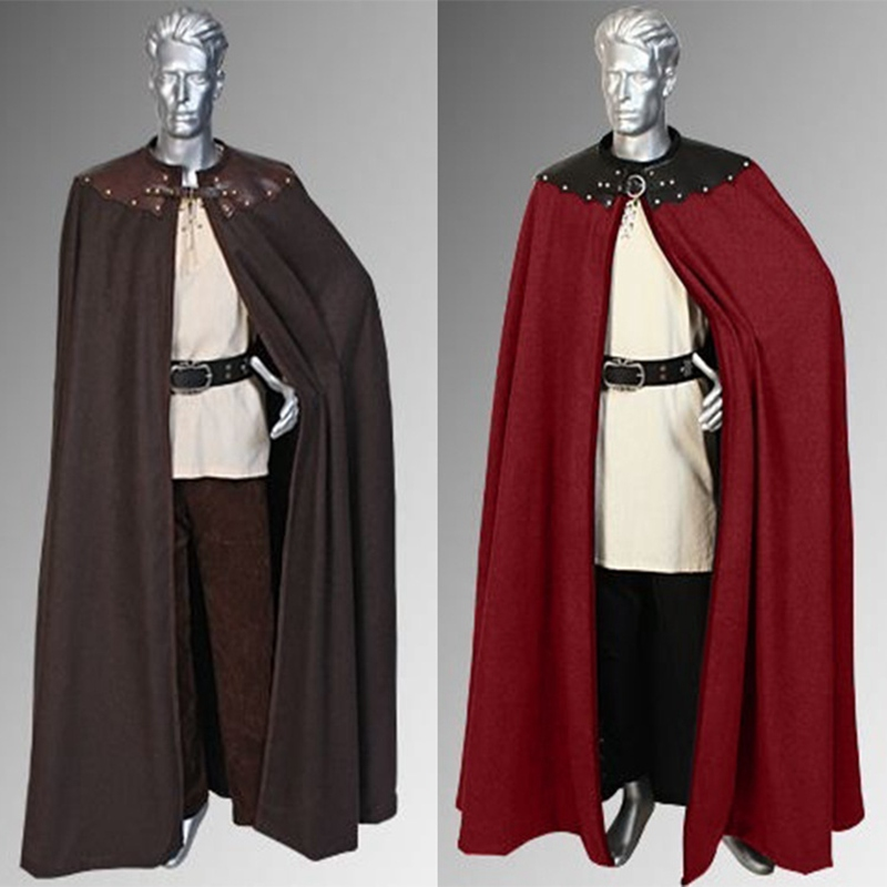 Medieval Knights Solider Cloak Cape Vintage Warrior Viking Cosplay Cape For Men