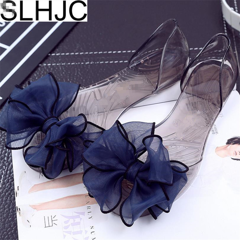 SLHJC Jelly Shoes Sandals Women 2018 Summer Lace Bow Sweet Beach Shoes Open Toe Flat Heel Cool Summer Flats
