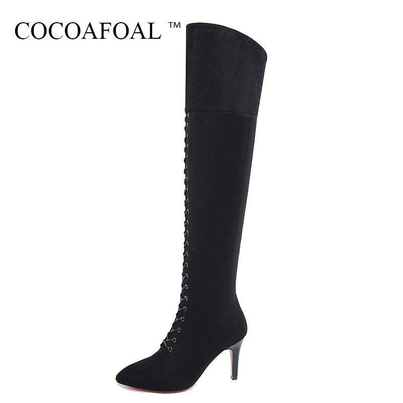 COCOAFOAL Women Sexy Black High Heeled Shoes Genuine Leather Thigh High Boots Plus Size 33 41 Winter Chelsea Over The Knee Boots cocoafoal women sexy black high heeled shoes genuine leather thigh high boots plus size 33 41 winter chelsea over the knee boots