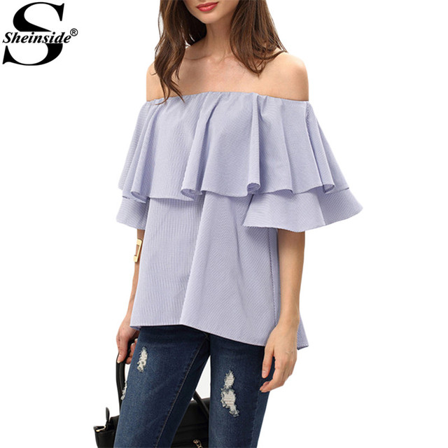 Sheinside Fora Do Ombro Blusas Bonito Estilo Verão 2016 Camisas das Mulheres Novas Casual Azul Royal Plissado Borboleta Manga Blusa