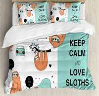 Tier Decor Bettbezug Set Faul Verschlafene Bären Tribe von Australian Sloths mit 'Keep Calm' Zitieren Cartoon 4 Stück Bettwäsche Set