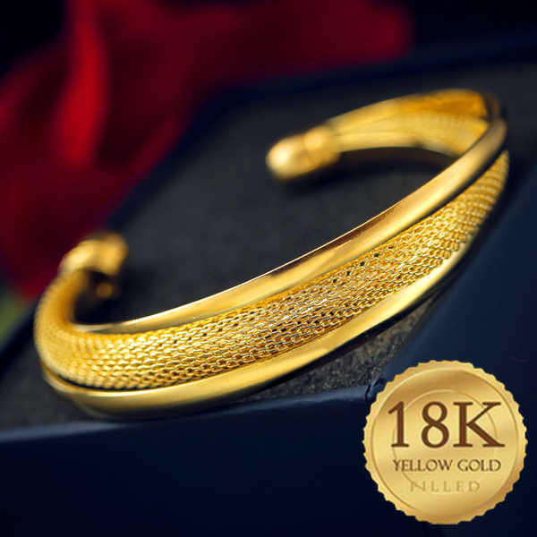 Hot Sale 18-k-Golden  Gold Chain Open Bangle Charm Bracelets for Women Jewelry Gift High Quality Free Shipping