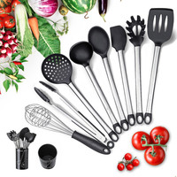 Silicone Kitchen Utensil Set for Cooking Tools Nonstick 9 PCS Stainless Steel Silicone Utensil Sets,cookware with Holder Spatula