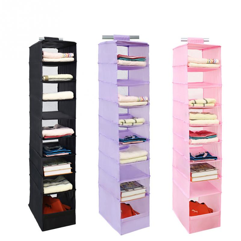 Captivating New Hanging Clothes 9 Section Shirt Storage Organiser Shelf Cabinet  Wardrobe Closet Hanger(China)
