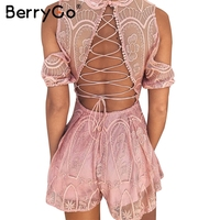 BerryGo Lace Up Backless Sexy Jumpsuit Romper Summer Elegant V Neck White Lace Overall Women Off
