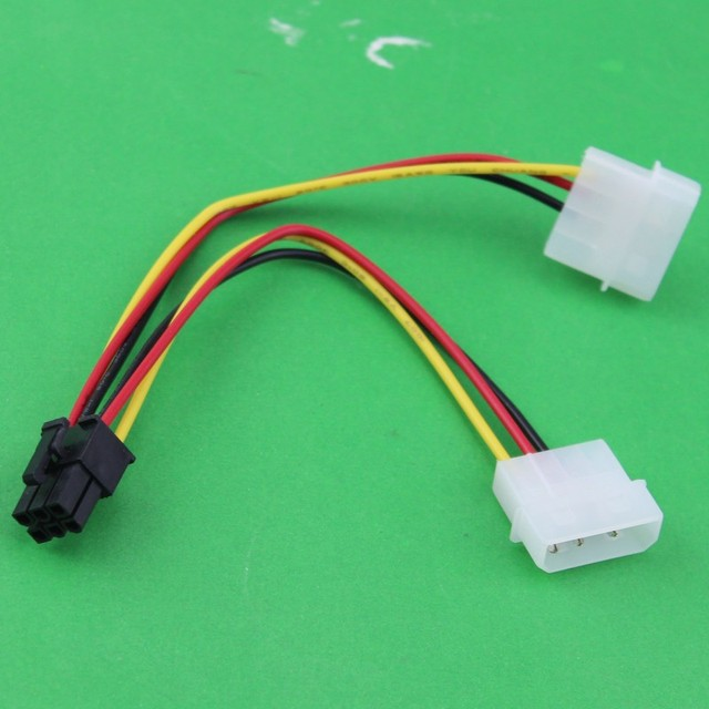 6 Pin to 4 Pin Power Cable Wire PCI E Adapter Graphics Video Card ...