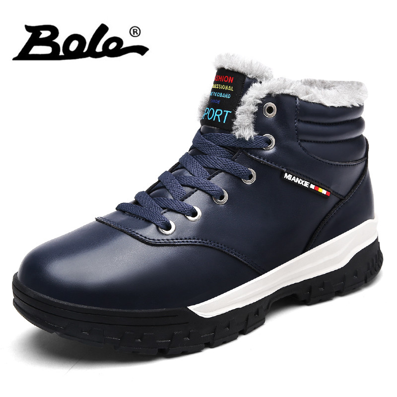 BOLE Plus Size 39-48 Men Snow Boots Winter New with Fur Keep Warm Waterproof Men Ankle Boots Platform Boots Men Fashion Sneakers mvvt super warm winter men boots snow boots with fur keep warm platform men winter snow shoes waterproof ankle boots