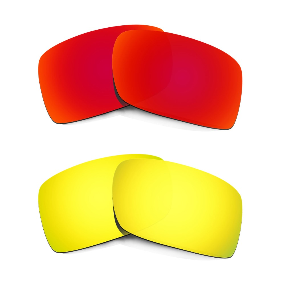 HKUCO Mens Replacement Lenses For Oakley Crankcase Red/24K Gold Sunglasses 7teK3jW