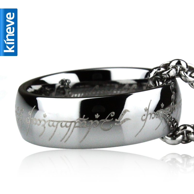 Image 2 - Lord Of The Rings Kineve LOTR Tungsten Carbide Ring Gold Free  With Chain Wide Ring Men Engagement Christmas Jewelry PresentRings   -