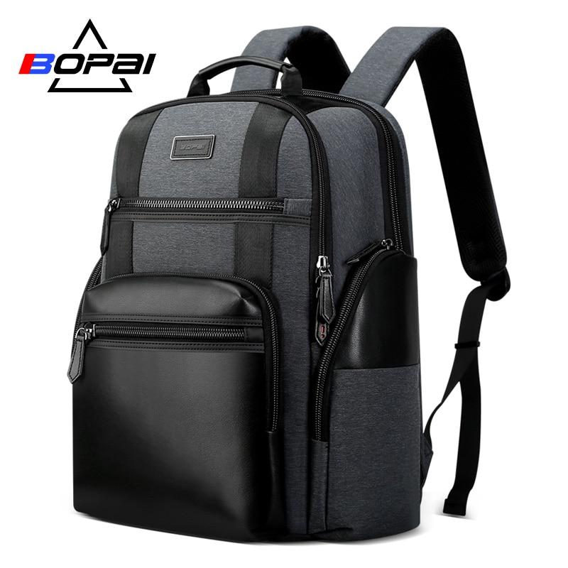 BOPAI New Nylon Men Backpack Black Grey Large Travel Backpack Bag for Men Waterproof Laptop Backpack