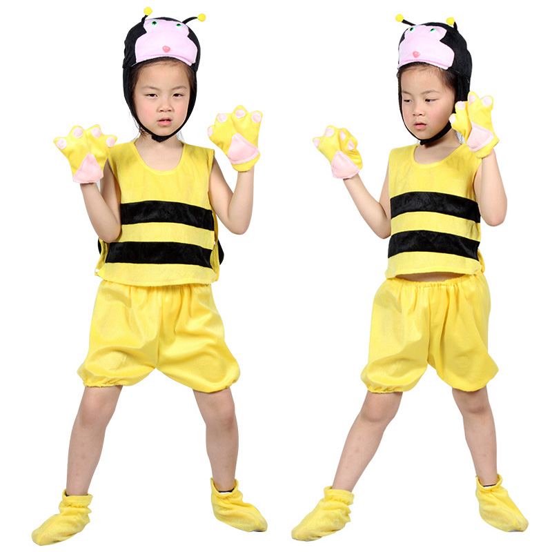 Free shipping,halloween party cosplay Children animal bee honeybee costume clothes cartoon clothes gloves hat shoes for kid