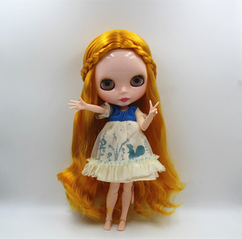Free shipping Blygirl nude doll Blyth doll blonde curls multi-joint articulation joint body 19 DIY baby dolls,