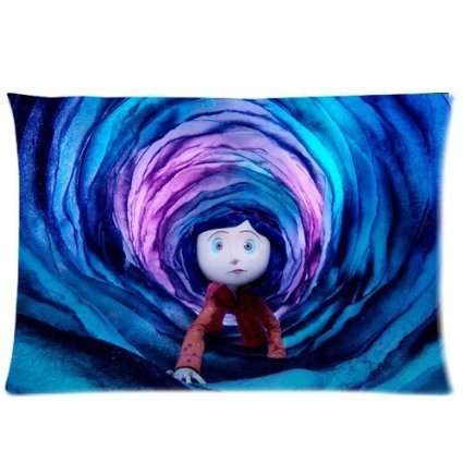 Soft <font><b>Pillow</b></font> <font><b>Case</b></font> Cover 20*30 Inch (Twin sides)Zippered Pillowcase Cartoon Coraline & the Secret Door Gift Design image