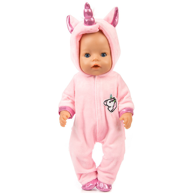 New doll clothes for 43cm Baby born coat unicorn hoodie 18 inch baby dress Christmas Gift