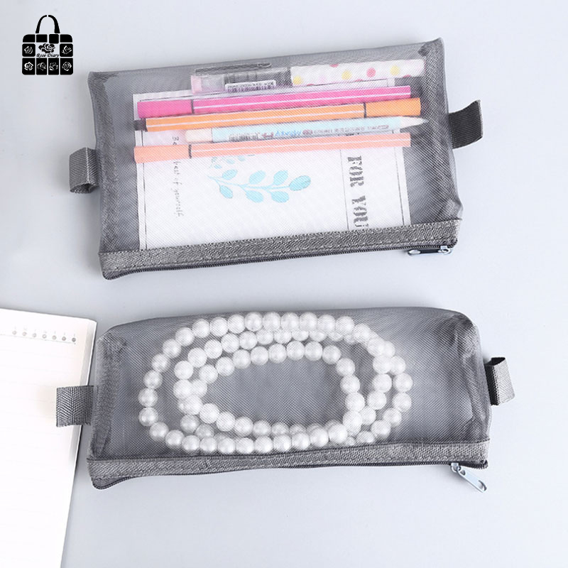Rose Diary New Multi-Function Transparent Mesh Beauty Zipper Travel Cosmetic Bag Portable Toile Pouch Pencil Bag Purse bag