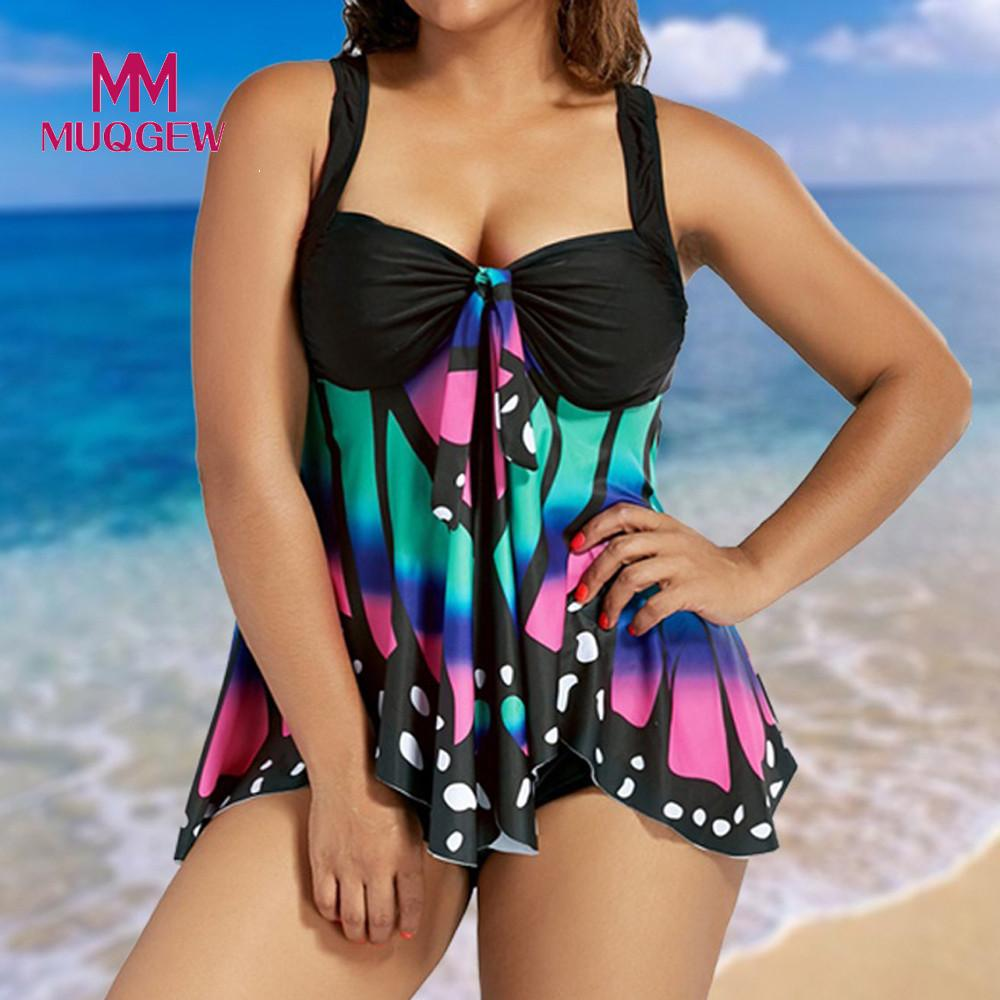 MUQGEW Plus Size High Waist Bikini Set Women Swimsuit 2018 Sexy Butterfly Printing Bikinis Swimwear Banting Suit Swim Biquini