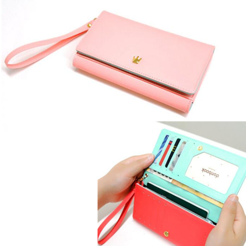 2016 Fashion Women Wallets wristlet handbag solid PU Leather Long bag Change clutch Lady famous brand Cash phone card coin Purse famous brand long pu leather wallets