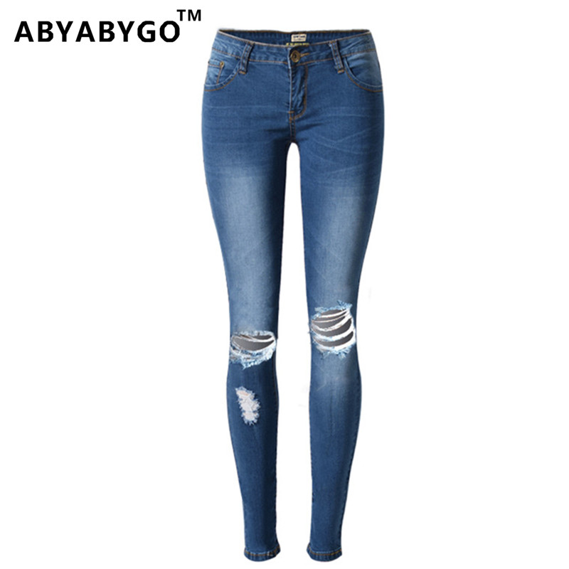 ABYABYGO Hot Fashion Ladies Cotton Denim Pants Stretch Women Bleach Ripped Knee Jeans Denim Jeans For Female High Waist Jeans