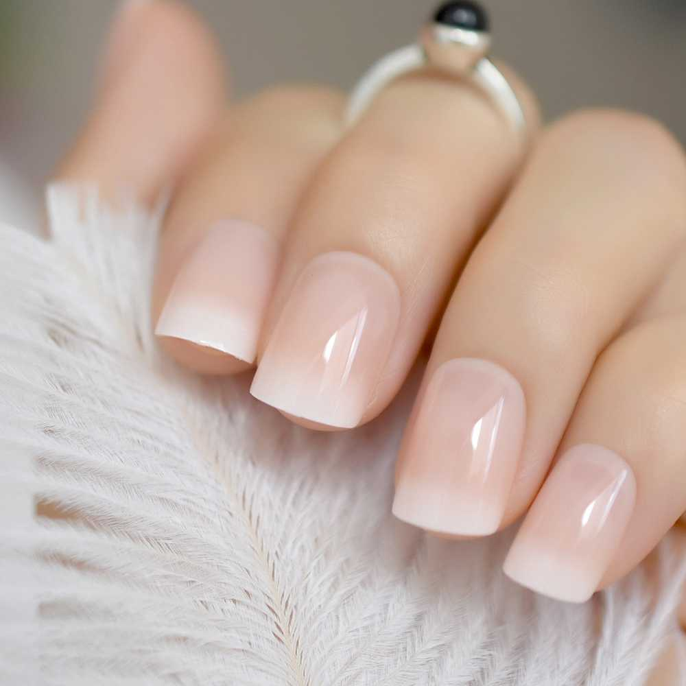 24pcs Classical Light Pink French Nail Pointed Simple Designed Square Head  UV Gel Nails Short Flase Nails with glue sticker Z919