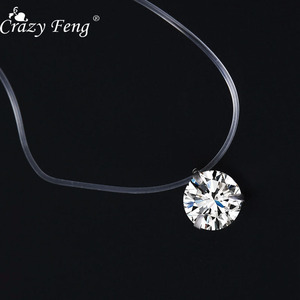 Crazy Feng Trendy Shiny Zircon Crystal Pendant Necklace For Women Invisible Transparent Fishing Line Women Clavicle Necklace