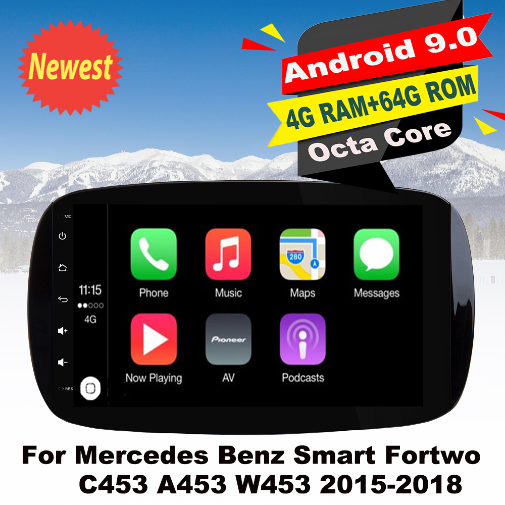 Support Apple Carplay Android Car Radio GPS Multimedia Player For Mercedes Benz Smart Fortwo C453 A453