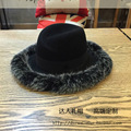 Black abnormity felt trilby M letters High-end Sir PI cao maomao decoration elegant hat