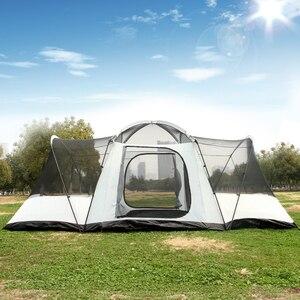 Image 4 - הגעה חדשה Ultralarge 3 שינה 6 12 אדם שימוש כפול שכבה עמיד למים ארבעה עונה Windproof קמפינג אוהל ביתן גדול