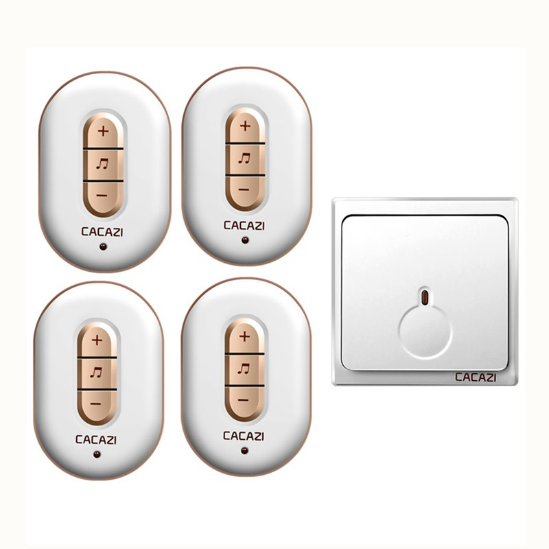CACAZI AC 110-220V high quality 280M remote wireless doorbell waterproof 1 transmitter+4 receivers 6 volume 48 chime door ring cacazi a9 3 ac 75 250v wireless doorbell 1 waterproof button 3 receivers 52 ringtones 4 volume 300m remote electronic doorbell