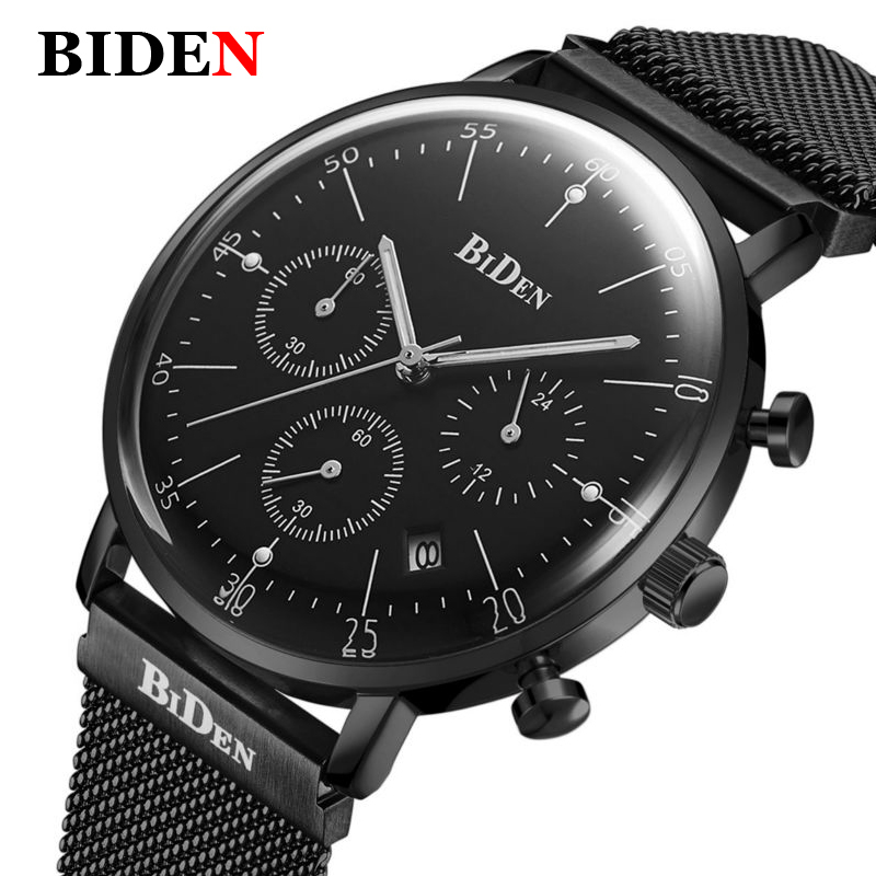 Fashion Men Watch Top Luxury Brand Watches Men Stainless Steel Mesh Strap Quartz-watch Ultra Thin Dial Clock Relogio Masculino biden men s watches new luxury brand watch men fashion sports quartz watch stainless steel mesh strap ultra thin dial date clock