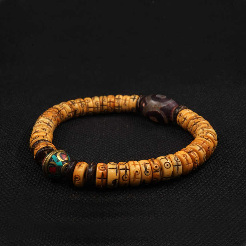 POHIER натуральный ретро крест кость яка тибтан буддийский ручной плетеный браслет для мужчин и женщин ювелирные изделия