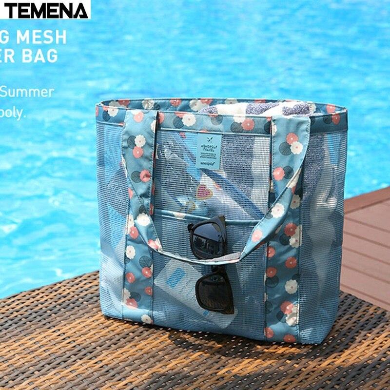 TEMENA Waterproof Sport Swimming Bag Outdoor Multifunctional Women Mesh Beach Storage Bag Travel Shopping Handbag