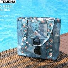 TEMENA مقاوم للماء الرياضة حقيبة سباحة في الهواء الطلق متعددة الوظائف النساء شبكة الشاطئ حقيبة التخزين حقيبة يد للتسوق السفر