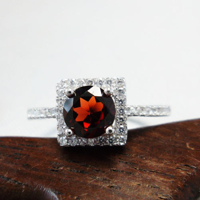 Classic red garnet ring 100% natural garnet stone fashion square 925 solid streling silver ring wholesale price jewelry