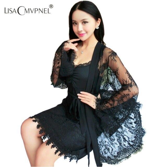 Rayon Sexy Wrapped chest Women Robe Set Spaghetti Strap With Bra Nightdress Lace Transparent Robe