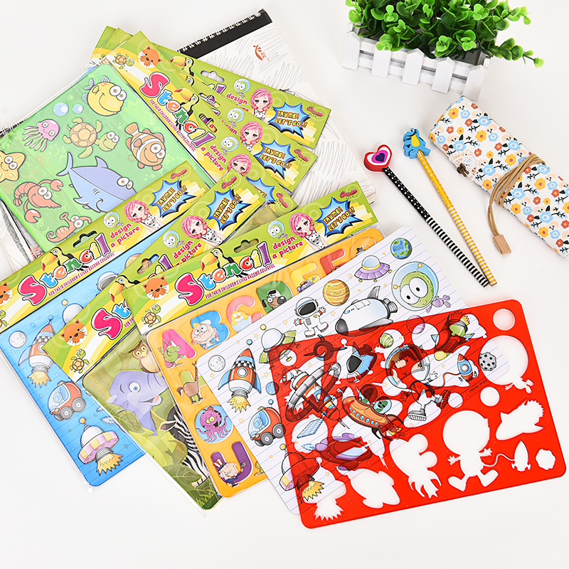 5pcs Children Drawing Stencils With Hollow Cartoon Animals/ Space/farm Kids Drawing Model Rules Set For Kindergarten School Toy