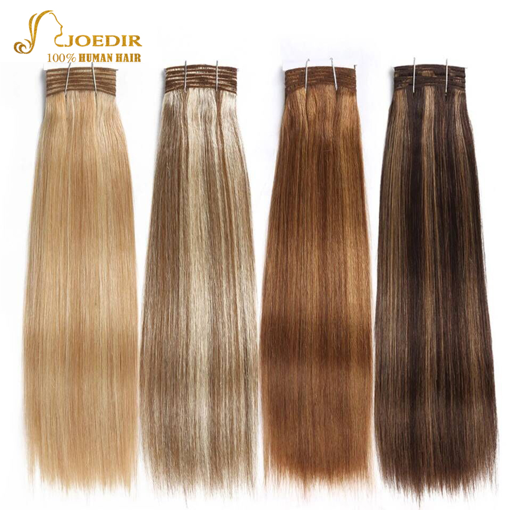 Joedir Hair Double Drawn Brazilian Remy Human Hair Bundles Yaki Straight Hair Weave Color #P6/613 Piano Colors Blonde Bundles(China)