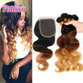Ombre cabelo brasileiro com fecho de 3/4 pacotes com fechamento 7a ombre weave brasileiro do cabelo humano da extensão do cabelo com lace closure