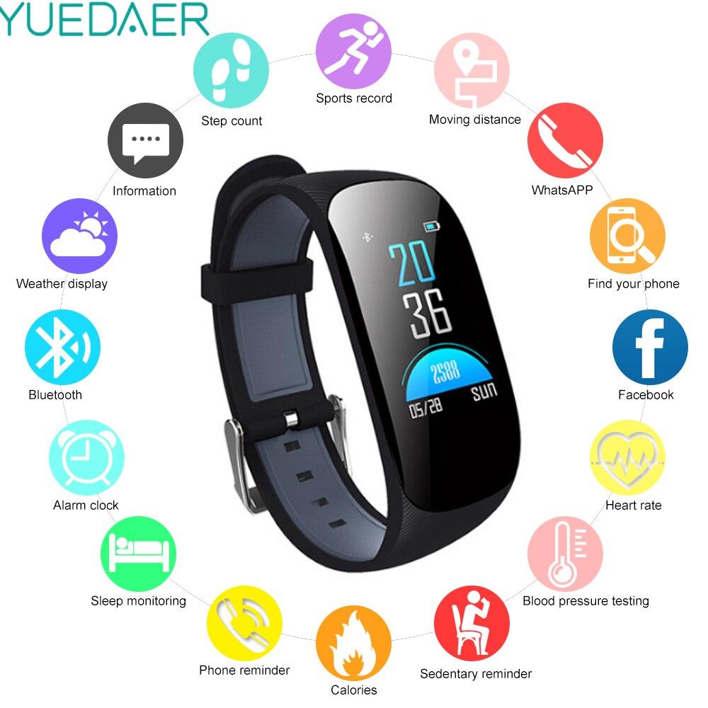 419da5b42bb6 Comprar YUEDAER pulsera inteligente Monitor de ritmo cardíaco sangre  presión podómetro pulsera Fitness banda inteligente impermeable reloj  deportivo Online ...