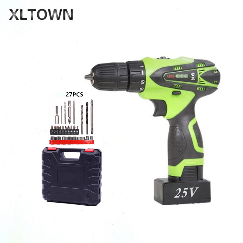 XLTOWN 25V electric drill rechargeable lithium battery multi-function electric screwdriver with drill bits Household power tool 25v lithium battery household wireless electric drill torque drill bits hand drill electric screwdriver wrench power tool