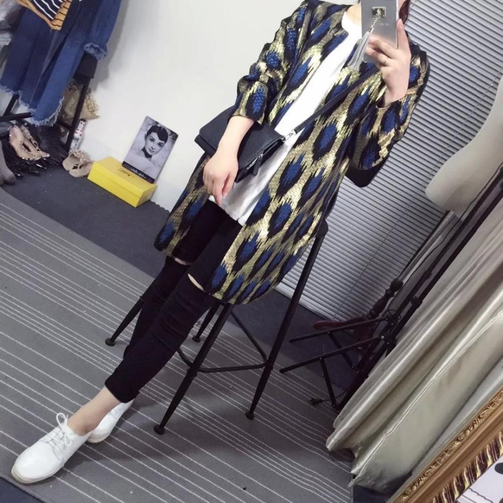 HTB1NU2FJFXXXXbsXXXXq6xXFXXXl - 2015 Autumn New The peacock printing Knitting Long Cardigan Ladies Sweater Women Coat Outwear Snake Pattern Bronzing Tops