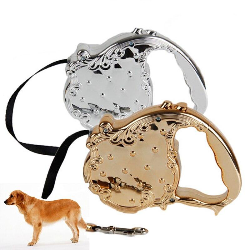 Envío Libre de Lujo de Oro de Plata de Diseño de Mascotas Correa de Perro Flexi
