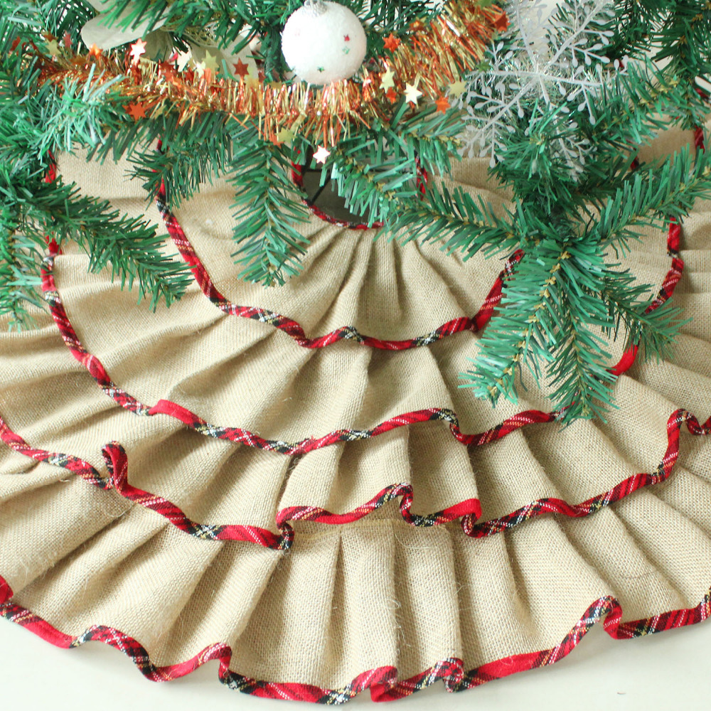 ruffler jute burlap christmas tree skirt extra large 60 diameter red border decoration p2784p2785p2786 in tree skirts from home garden on - Burlap Christmas
