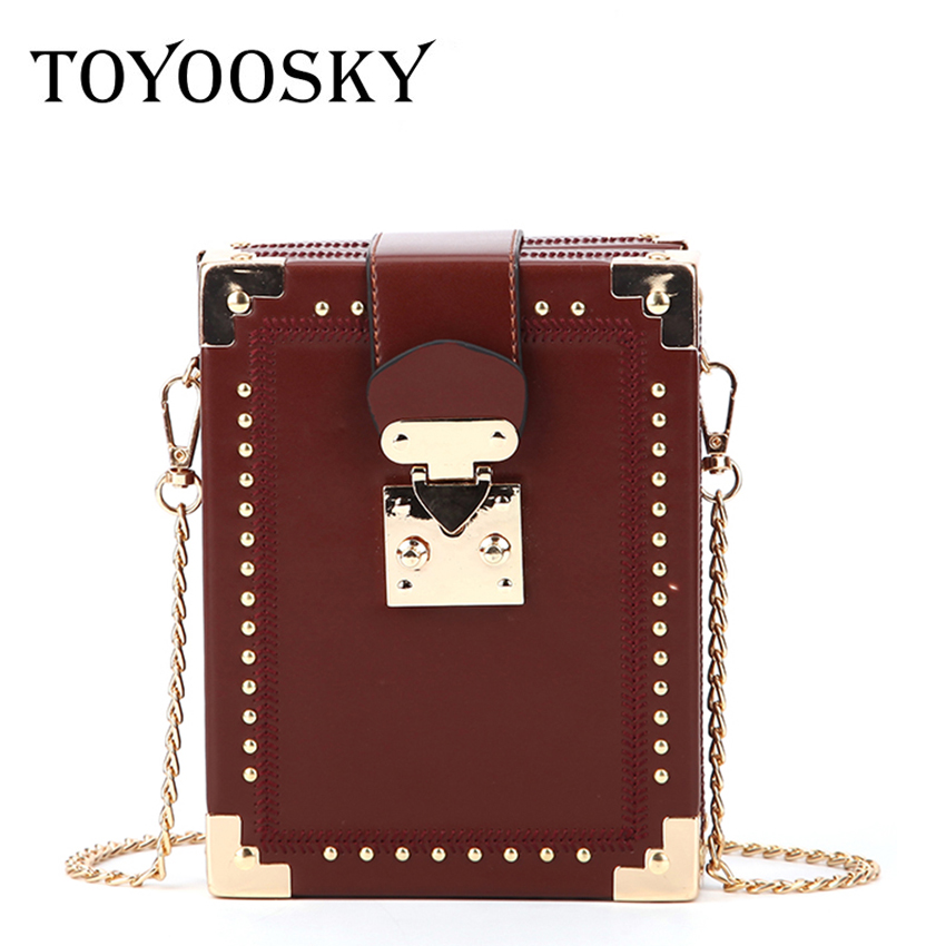 TOYOOSKY Fashion Rivet Box Shape Crossbody Bag Casual Female Handbag High Quality Small Square Shoulder Bag Package ClutchTOYOOSKY Fashion Rivet Box Shape Crossbody Bag Casual Female Handbag High Quality Small Square Shoulder Bag Package Clutch