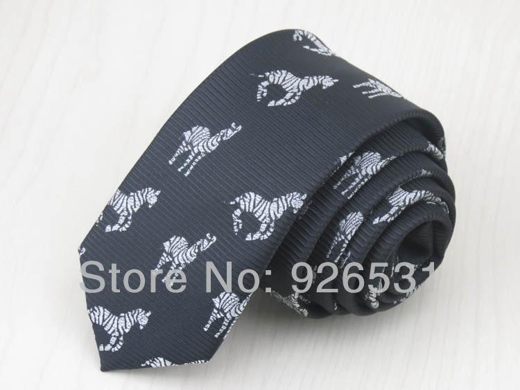 (1 Pieces/lot) Tie/black/Silver Zebra Pattern Design/ 1200 Needle Polyester/fashion Leisur Boy 5cm Tie, Free Shipping