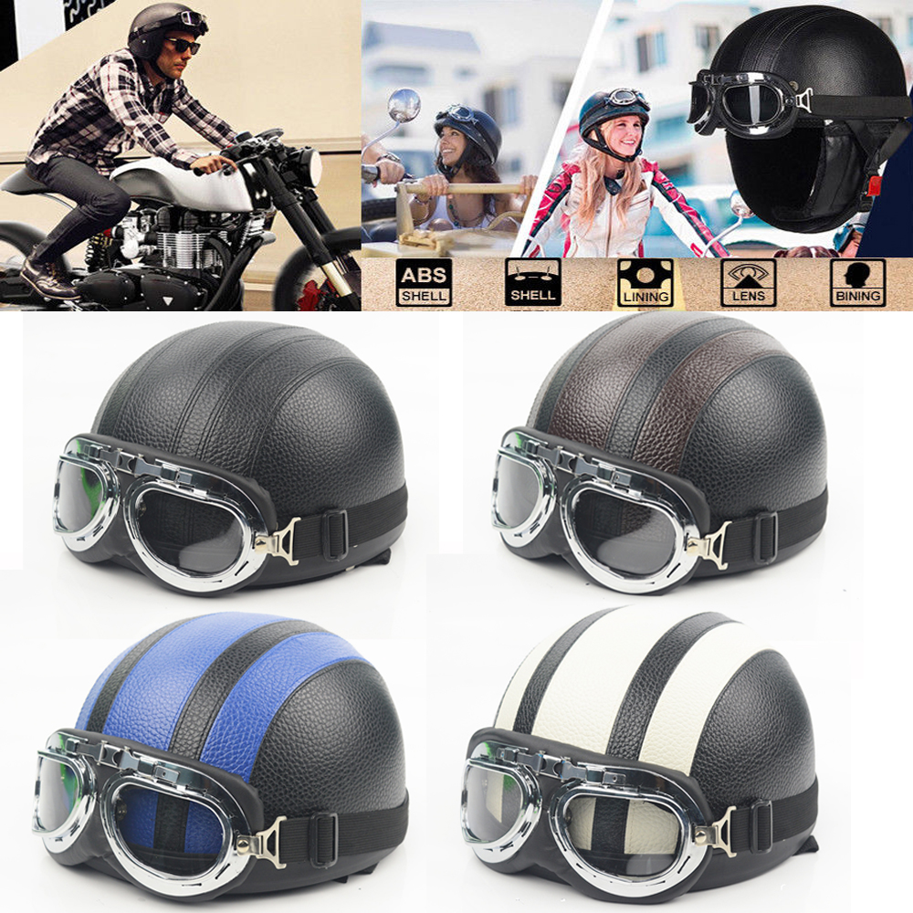 Adult Helmets For Harley Motorcycle Retro Half Cruise Helmet Motorcycle Helmet Vintage GERMAN Motorcycle Moto moto adult leather harley helmets for motorcycle retro half cruise helmet prince motorcycle german helmet vintage motorcycle