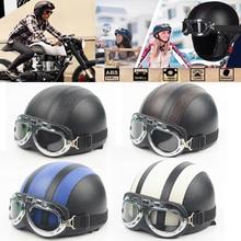 Cascos para adultos motocicleta Retro medio casco de crucero motocicleta Scooter casco para motos Harley Vintage alemán Moto