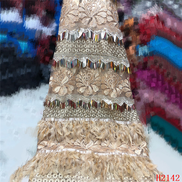 High Quality 2019 Tulle Sequins French Nigerian Lace Fabrics Plume Embroidered African Red Lace Fabric HJ2142-1