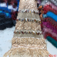 High Quality 2019 Tulle Sequins French Nigerian Lace Fabrics Plume Embroidered African Red Lace Fabric HJ2142 1