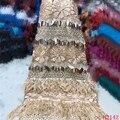 Tecido de renda africano 2019 azul Bordado Malha cabo Francês Rendas de Alta Qualidade tecido de renda guipure Para vestido de festa H2088 nigéria